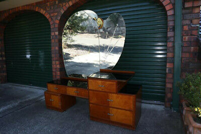 Vintage Antique Art Deco Style Timber Bedroom Dresser Cabinet with Mirror