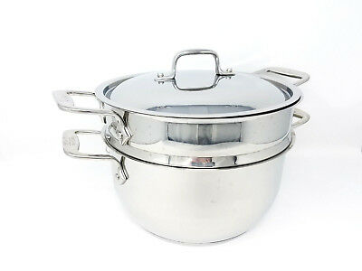 All-Clad D5 Stainless Steel 5 Qt Sauce Pan With Steamer Insert & Lid Induction