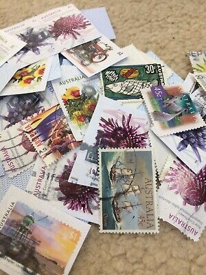 100 Used Australian Stamps Bulk On Off Paper New Old Recent