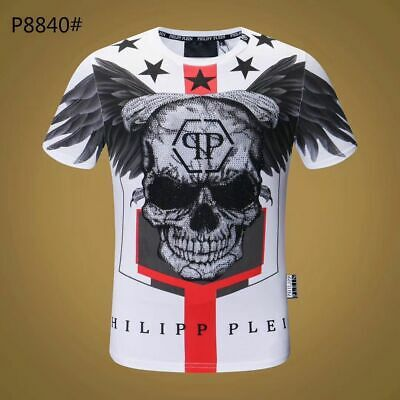 PHILIPP PLEIN Black/&White Skull Beading Men Casual T-shirt P8847# Size M-3XL
