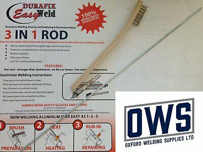 Aluminium Welding/Brazing Low Temp Durafix Easyweld UK Rods + Brush