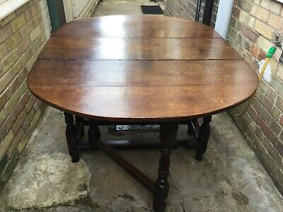 Beautiful mid 18thc solid oak dropleaf table with drawer shabby chic
