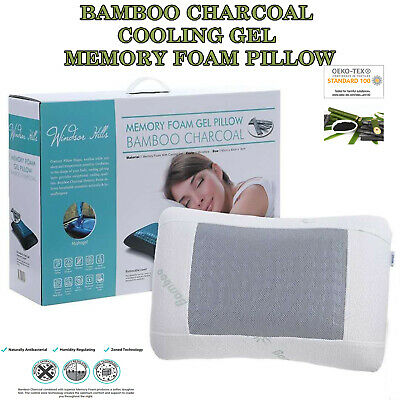 Memory Foam Pillow; Bamboo Charcoal; Cooling Gel; Contour Shaped; Washable Cover