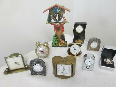 Job Lot Of Mostly Vintage Clocks (For Spares/ Repair) Cuckcoo/ Brass/ Sil Plated