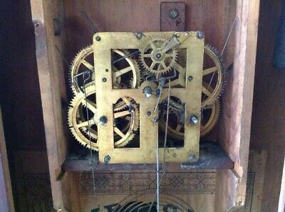 ANTIQUE AMERICAN JEROME & Co 30 HOUR WALL CLOCK COMPLETE AND ORIGINAL