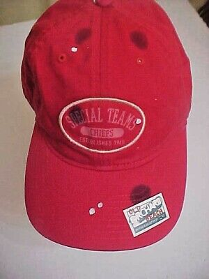 2d0973c8bfe NWOT KANSAS CITY CHIEFS buckle back REEBOK CAP - Stain Distressed ...