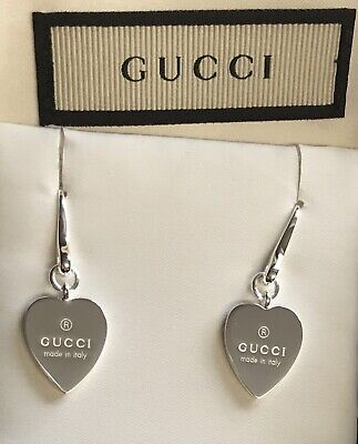 58c8a1e66 NEW Authentic GUCCI TRADEMARK HEART 925 ST SILVER DROP EARRINGS w/Box