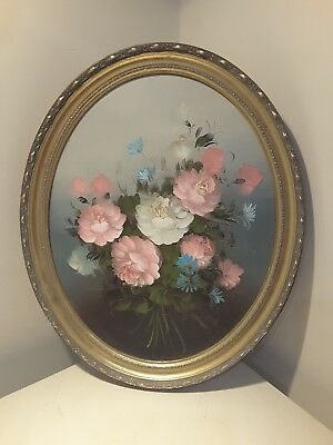 Vintage Oil Painting Still Life Oval Shabby Chic Flowers Floral
