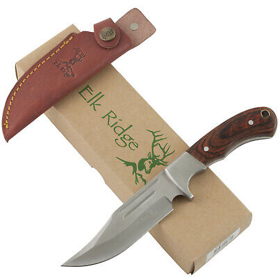 Elk Ridge Fixed Blade Hunting Skinning Knife ER052 Sheath Double Blood Groove