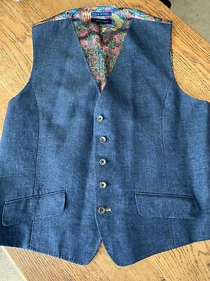 Ted Baker Size 44R (2XL) Linen Polyester Five Button Men s Waistcoat Vest  Navy 2ae6daa167630