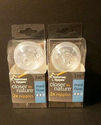 2 - 2 Packs Tommee Tippee Closer to Nature Baby Nipple Medium Flow 3m+ New!