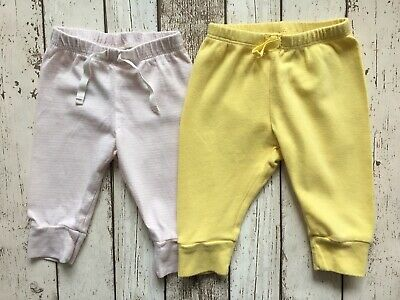 Baby Gap Baby Girls Yellow & Pink Candy Stripe Cotton Joggers Pull-on Pants 3-6