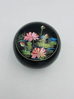 Japanese Lacquer Ware Round Domed Trinket Box Hand Painted Pink Water Lilies