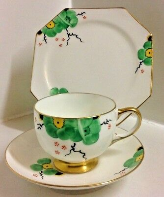 Paragon Art Deco Hand Painted English Bone China Tea Set Trio.
