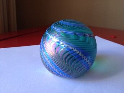 """Vintage OBG  ART GLASS PAPERWEIGHT, IRIDESCENT 3""""  Signed Dated 1987"""