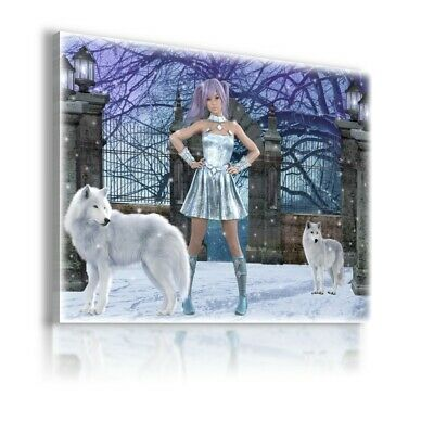 FANTASY WORLD FAIRY FOREST WITCH WOMAN WOLVES Canvas Wall Art F236 MATAGA