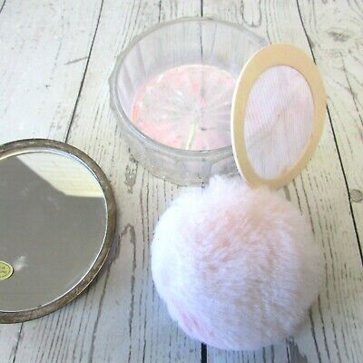 Vintage Powder Puff Jar Clear Glass Silver Tone Lid Vanity Dresser Trinket Box