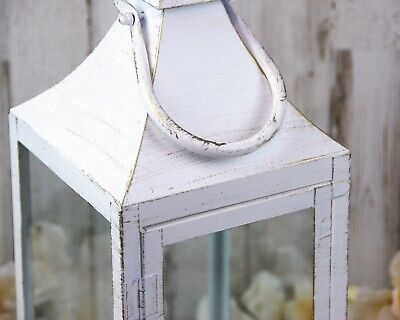 White & gold shabby farmhouse chic distressed large fireplace candle lantern