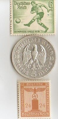 1936- 5 mark *german  SILVER  EAGLE(.900%,)  coin + free *greek Olympic  stamp