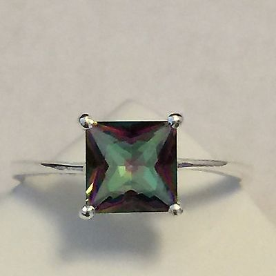 Princess Cut 1.5ct Mystic Topaz 925 Solid Sterling Silver Ring sz 5.75