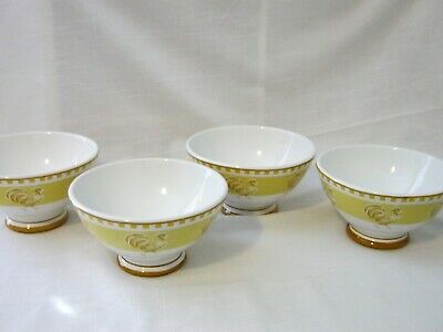 Set of 4 White Yellow & Tan Williams Sonoma Footed Cereal Soup Bowls W/Roosters