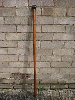 Walking Stick.  Fruit Wood Shaft With A Tropical Nut Handle.  95 Cm High.