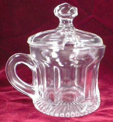 Higbee Colonial Mustard Jar & Lid Estelle Clear Glass EAPG Antique 1910