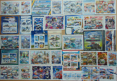 TRANSPORT Railway Cars Planes Ships 336 diff mini & souv. sheets Composition Lot