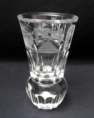 Antique 19Th Century Masonic Firing Glass Hand Cut Engraved Symbolic Freemasons
