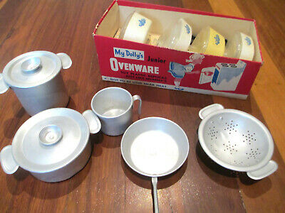 2 Vintage Kitchen Play Sets ~ Aluminum Toy Pots Pans ~ My Dolly's Oven Cornware