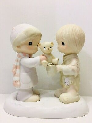 "Precious Moments ""CHRISTMASTIME IS FOR SHARING"" 1983 figurine Boy-Orphan Child"