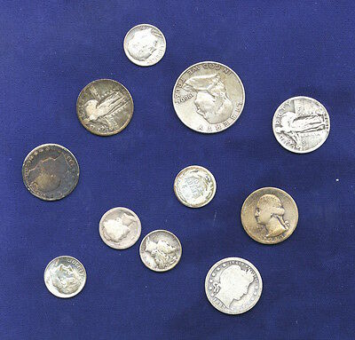 U.s.  Miscellaneous  90% Silver Coins, Group Lot Of (11), $2.25 Face Value