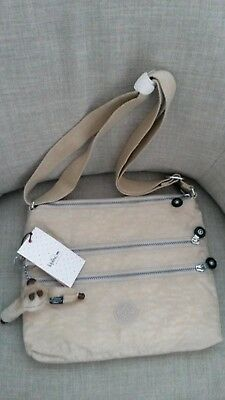 422df1902a NWT New KIPLING Alvar Crossbody Khaki Nylon Messenger Bag Creme Beige Tan  Purse