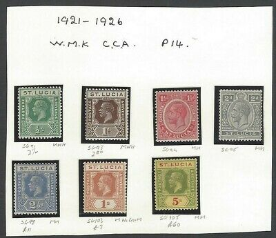 St. Lucia 1921-26 KGV MH collection incl. 5sh MH