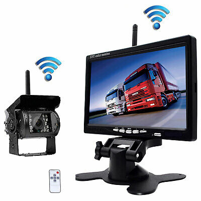 """7""""Monitor+Wireless Rear View Backup Camera Night Vision for RV Truck Bus S2 VAN"""