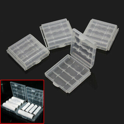 4x Hard Plastic Case Holder Storage Box Cover Container Clear for AA AAA Battery