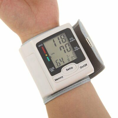 LCD Digital Wrist Arm Blood Pressure Monitor Measure Heart Rate Pulse Meter