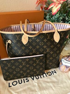 31c5a919784d Authentic Louis Vuitton Rose Ballerine Neverfull Mm Monogram Pink Euc!