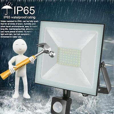 LED FloodLight 10W 20W 30W 50W 100W PIR Motion Sensor Outdoor Security Light UK