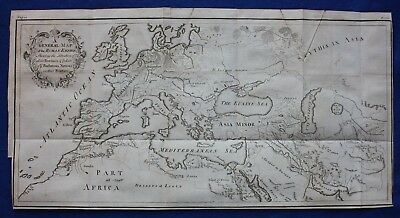 Original antique map ANCIENT ROMAN EMPIRE, EUROPE, ASIA, N AFRICA, Blundell 1748
