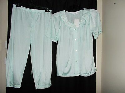 ladies sleepwear pjs PYJAMAS CAPRI CROP  PANTS & TOP GIVONI SIZE S MINT  BNWT