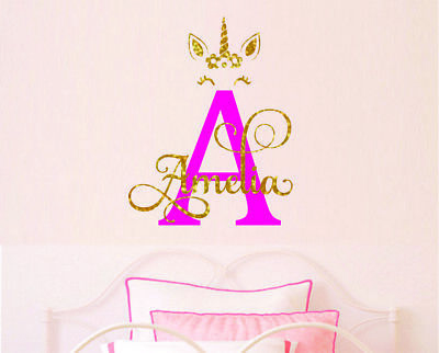 Custom Initial  Name Personalised Unicorn  Bedroom  Decor Wall Stickers