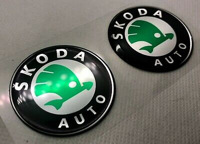 2 pcs. Skoda logo badge sticker. 45mm. Domed 3D Stickers/Decals.