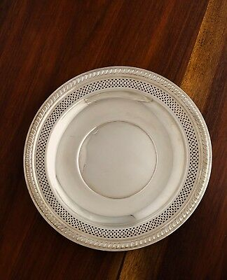 - Crown Silver Co Sterling Silver Hors D'oeuvres Plate Reticulated Borders
