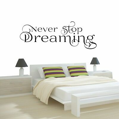 Never Stop Dreaming Wall Stickers Bedroom Custom Decal Quote Rose Gold Colour