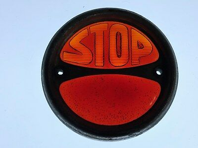 """Vintage Early Tail 2-TONE STOP Light OLD GLASS Lens CAR 1920's 1930's 4-9/16"""""""