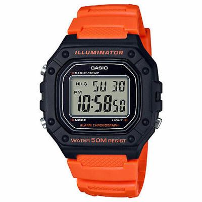 Casio W218H-4B2V,50 Meter WR Chronograph Watch, Alarm, Orange Resin, Illuminator