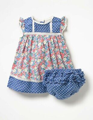 Baby Boden Girls Floral Dress New 3-6m Sample Hotchpotch Woven with matching pan