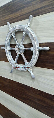 White Nautical Collectible Wooden Ship Wheel Boat Steering Wall Decor