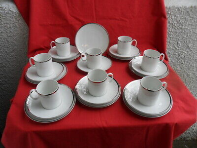 THOMAS (Germany) Platinum/Silver (Wide Band) Cups, Saucers & Teaplates